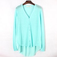 air conditoning - summer European style back chiffon patchwork cardigan female solid color front short back long women air conditoning blouse