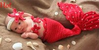 Cheap Baby Infant Mermaid Animal Crochet Knitting Cute Costume Clothes Photo Outfits Red Peals Photography Props for 0-9 Month Newborn Top 18851