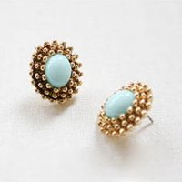 Wholesale Factory Export Retro Candy Colorful Earrings Inlaid Oval Gemstone Jewelry Vintage Earrings Stud Earrings