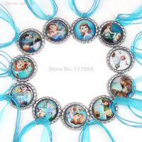 belle party favors - Princess Necklace Blue Ribbon Chain Bottle Cap Necklace Cinderella Sofia Necklace Belle necklace Party favors partypack