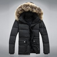 badger jackets - Fall New Arrival Winter Worsted Outdoor Business Solid Men Withe Duck Down Jackets Parkas Warm Badger Fur Hood Down Coat M0302