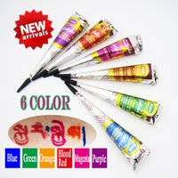 Wholesale New GOLECHA Henna Tattoo Paste Cone Indian Mehndi Kit Color Colored Henna Paste For Body Paint g Free To Send Stencil