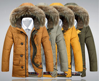 Cheap 2015 NEW Winter Men's White Duck Down Clothing Outdoor sports parka Men Hooded fur Middle Long Jackets Casual Warm Overcoats