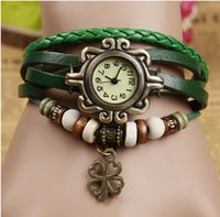 analog supply - Foreign selling supply Korea retro female models fashion bracelet watch watch female Mori Clover leather bracelet watch list