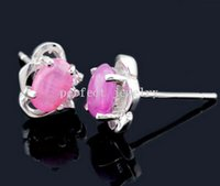 Wholesale Stud earring Natural real ruby earring sterling silver earrings Perfect Jewelry Fine jewelry DH