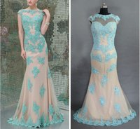 appliques - 2015 New Stock Backless Mermaid Prom Dresses Jade Applique beaded Jewel Neck Angela Evening formal gown