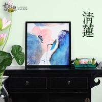 aqua wall - The new Chinese freehand auspicious lotus paintings Aqua Pure Lotus living room wall decorative painting combination model