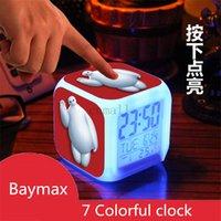 Wholesale Baymax Alarm Clock LED Colorful Clock LED Colors Change Digital Alarm Clock Night Colorful Changing Digital Alarm Clock Baymax Table Clock