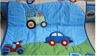Wholesale 3D stereo embroidery blue cars Pieces Baby Boy Crib Cot Bedding Set Quilt Bumper Fitted Sheet Baby Bedding