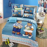 bear bedspreads - Cute teddy bear kids cartoon bedding set queen size children bed sheets quilt duvet cover cotton bedspreads doona bedroom linen