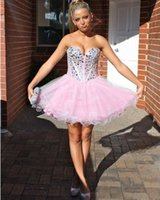 baby girl missing - Baby Pink Homecoming Dresses With Rhinestones Beads Sweetheart Neckline Tulle A Line Sexy Mini Short Prom Dresses For Girls Party Gowns LA