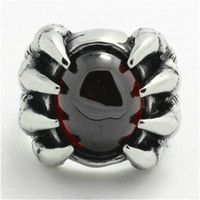 wholesale biker jewelry - Huge Ruby Ghost Skull Ring L Stainless Steel Fashion Jewelry New Arrival Biker Awesome Nobel Ruby Ring