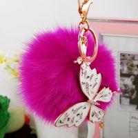 Wholesale Factory Direct Sale Fashion Pendants Popualr Korean Butterfly Fur Balls Bag Pendants Fox Hair Fur Balls Key Rings Whosale