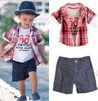 Cheap Freeshipping,2013 Hot!!children clothing boy's leisure set overshirt+t-shirt+shorts 3 pcs summer clothes for baby Retail CCS047