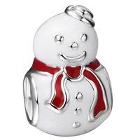 Wholesale Christmas Snowman Charms Silver Enamel European Charm Beads Fits Pandora Snake Chain Bracelets jewelry
