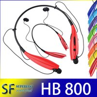 Wholesale HB800 HB Headphone Bluetooth Earphone Wireless Stereo Headset Sport Neckband black meck strap in ear OPP Package NO LOGO DHL Free Ship