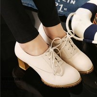 beige mid heel pumps - British style Lace up Mid High Heels Solid Spring Autumn Chunky Heel Dress Shoes Simple Women Pumps