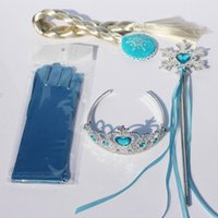 Wholesale 4Pcs Set Elsa Anna princess crown magic wand braid gloves Magic Wand Rhinestone Hair Crown Glove Set Girl
