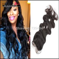 Cheap Free Shipping Top Lace Closure 4X4inch brazilian virgin hair closure bleached knots body wave natural color can be dyed
