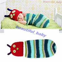 baby caterpillar costume - Hot Sale Striped Caterpillar Baby Crochet Hats and Cocoon Sets Handmade Infant Photography Props Costume Outfits