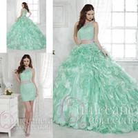 2016 Mint duas partes Quinceanera Vestidos de baile destacável Lace Train Cristais Jewel Vestidos cocktail doce 16 Debutante partido Prom Vestidos