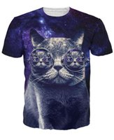 Wholesale Hipster Cat T Shirt whimsical kitty with steam punk glasses in dark purple galaxy print t shirt mens womens tees d t shirts tee FG1512
