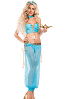 arabian belly dancer halloween costume - Adult Womens Genie Jasmine Aladdin Princess Costume Fancy Dress Halloween Sexy Exotic Apparel Arabian Belly Dancer Costumes Arabic