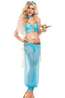 achat en gros de jasmin genie-Adulte Femmes Genie Jasmine Aladdin Princesse Costume Fantaisie Halloween Sexy Exotique Costumes Arabian Belly Dancer Costumes Arabe 8952