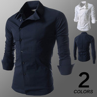 Wholesale 2015 new Men s Long Sleeve Solid Casual Shirt Slim Fit Casual Shirts Tops Western casual long sleeved shirt buttons oblique shirts mens