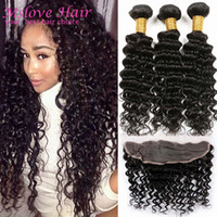 Wholesale 13 Lace Frontal Closure A Grade Peruvian Virgin Hair Deep Wave Bundles Peruvian Deep Wave With Frontal Closure Cheap Human Hair
