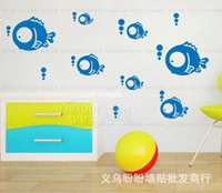 bathroom carts - Wall stickers home decoration Doudou three generations of wall stickers fish bathroom glass wall stickers decorative stickers cart