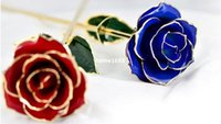 24k gold rose - 24K Blue Lady Red Hot Gold Plated Real Rose Gift Box Romantic Flower for Valentine s day Wedding Christmas Girlfriends Presents