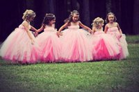 Cheap 2015 Ball Gown Princess Pink Flower Girl Dress Tulle Pleat Spaghetti Straps Little Angles for Weddings Toddler Pageant Girl Party Gown