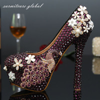 Wholesale W006 Full Purple Rhinestones Covered with White Flowers Platform High Heels Crystal Wedding Shoes Jeweled Bridal Shoes Wedding Pumps