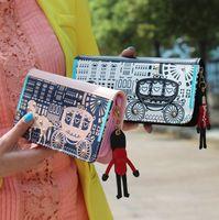 Wholesale explosion models Korean version of high grade PU leather rivet wallet zipper hit the color women wallet long section