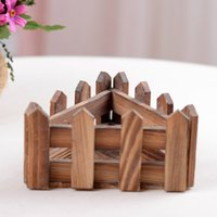 Wholesale Flower Fence Wooden Box Planters Small Wooden Basket Triangle Flower Pot For Garden Decoration Home Decoration