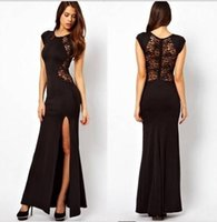 Wholesale Women Party Dress Fashion Female Dress Slim Chiffon Lace Casual Lady Dress