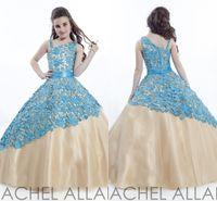 Cheap Cute Wedding Christmas Formal Pageant Cheap For Little Girls Kids Flower Girl Dresses 2015 Sequin Lace Ball Gown Long Blue Gold Girl's Dress
