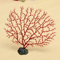 Wholesale Soft Fish Aquarium Decoration Red Anemone Coral Artificial Aquatic Beautiful Simulation Soft Coral Fish tank
