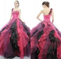Wholesale Colorful Quinceanera Dresses One Shoulder Beaded Sleeveless Ruffles Full Length China Masquerade Ball Gowns Cheap Quinceanera Gowns DY