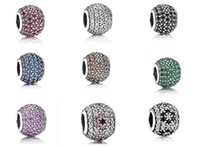 Wholesale Sterling Silver Cubic Zirconia Paved Charms For Pandora DIY Bracelet Colors Mix