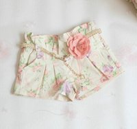 Wholesale baby girl kids vintage rose flower short pants shorts legging Jeans floral legging short pants Jeans rosette belt pajamas PJ S pink lace