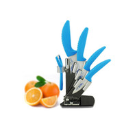 grapefruit - Cooking Tools Set Kitchen knife Accessories Zirconia Ceramic quot quot quot quot inch with Blue Flower Printed Peeler Holder