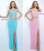 baby art pictures - Two Pieces Prom Dresses Baby Pink Formal Evening Gowns With Beading Split Sheath V Neck Zip Back Floor Length Chiffon Party Gowns
