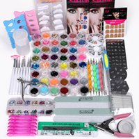 acrylic nail kit - 48 Pots Acrylic Powder Stricker Glitter Nail Art Brush Clipper Set Kit Tips Tools