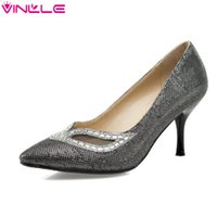 Cheap VINLLE 2015 Fashion shining colors women shoes sexy cut outs&nice rhinestone thin heel pointed toe ladies party shoes size 34-43