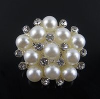 Wholesale 6type rhinestone alloy pearl crystal button embellishment for wedding invitation card DIY girls headband