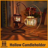 Wholesale Iron Style Pumpkin Candlestick Hollow Candleholder Candle Tea Light Holder Decor Colors Black White Candle holder