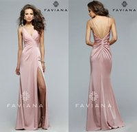 Wholesale Simple Dusty Pink Evening Dresses Faviana Spaghetti Straps Sexy Backless Mermaid Prom Party Charming Side Splits Homecoming Gown Zipper