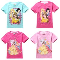 beaty girl - New D princess designs Bell snow white sleep beaty printed short sleeve cotton girls t shirt TM